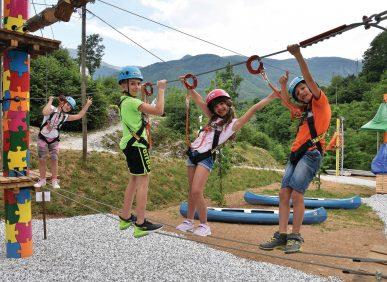 Parte del Percorso Gufetta per l'approccio all'equilibrio per Bambini - Parco Avventura - Vagli Park